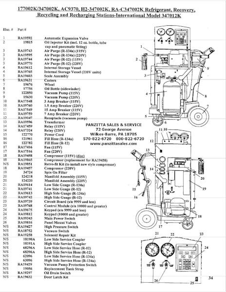Robinair 177002k 347002k Ac9370 H234700 Parts Panzitta Sales Service