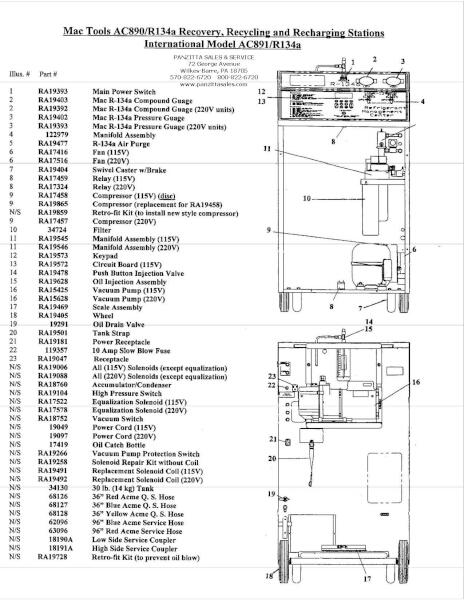 Robinair AC890, R134A Parts