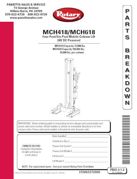 Parts Of A Column >> Rotary Mch418 Mch618 Mobile Column Parts Panzitta Sales