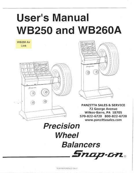 Snap On John Bean Wb250 Wb260a Parts Panzitta Sales