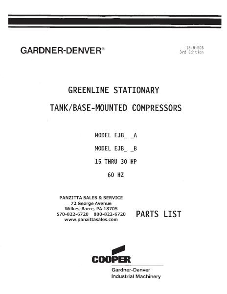 Gardner Denver EJB Parts Panzitta Sales Service